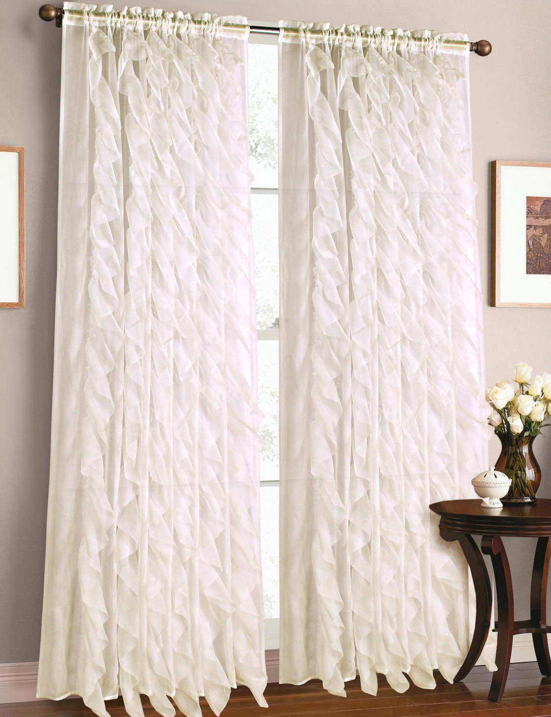 "Elegant Crushed Voile Ruffle Window Curtain Pieces Intended For Famous 1Pc Beige Cascade Elegant Crushed Voile Sheer Window Curtain Panel 55"" X 84"" (Gallery 11 of 20)"