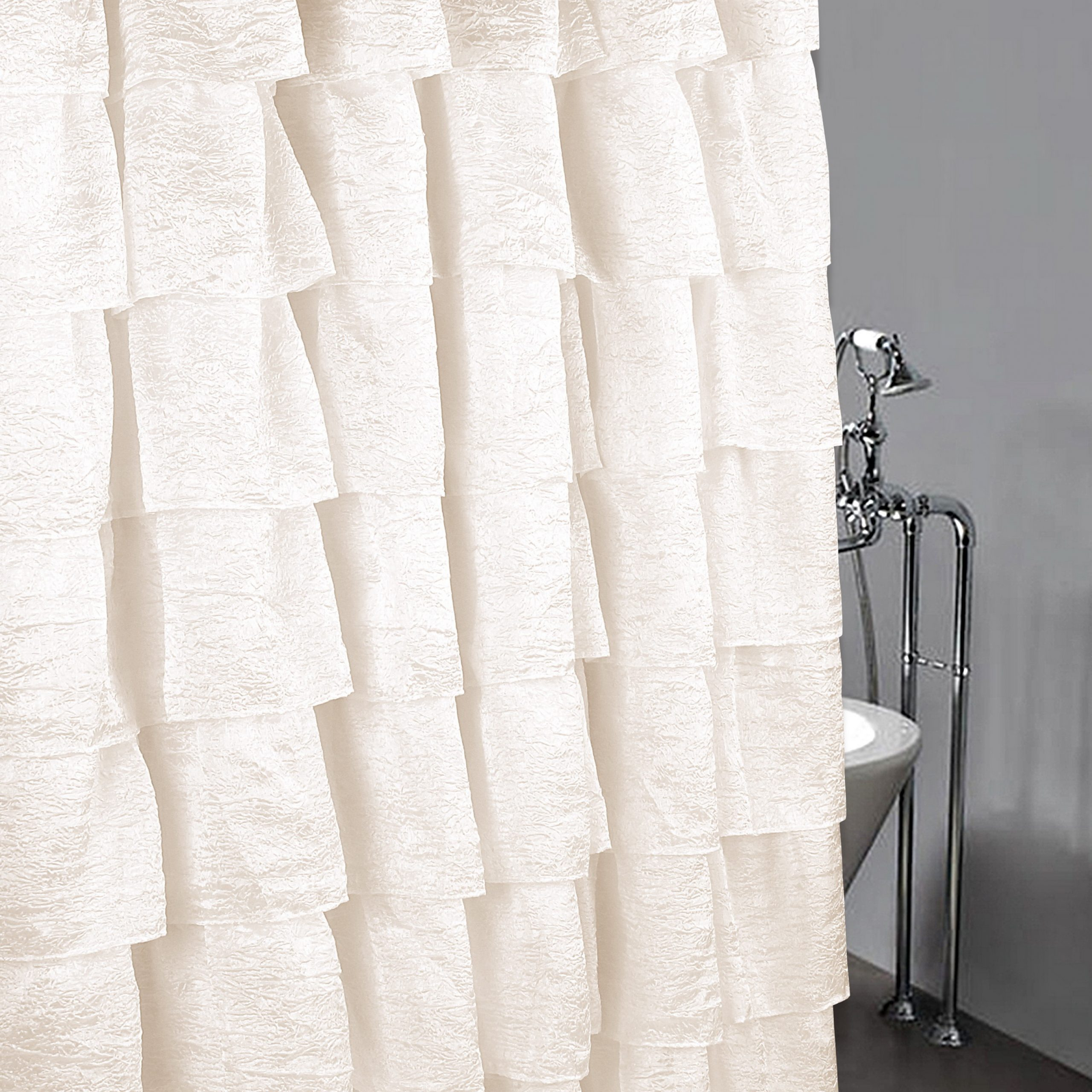 "Elegant Crushed Voile Ruffle Window Curtain Pieces Pertaining To Most Current Golden Linens Crushed One Piece Voile Sheer Shabby Chic Gypsy Ruffle Window  Curtain Panel (Shower Curtain 70"" X 72"", Ivory) (Gallery 7 of 20)"
