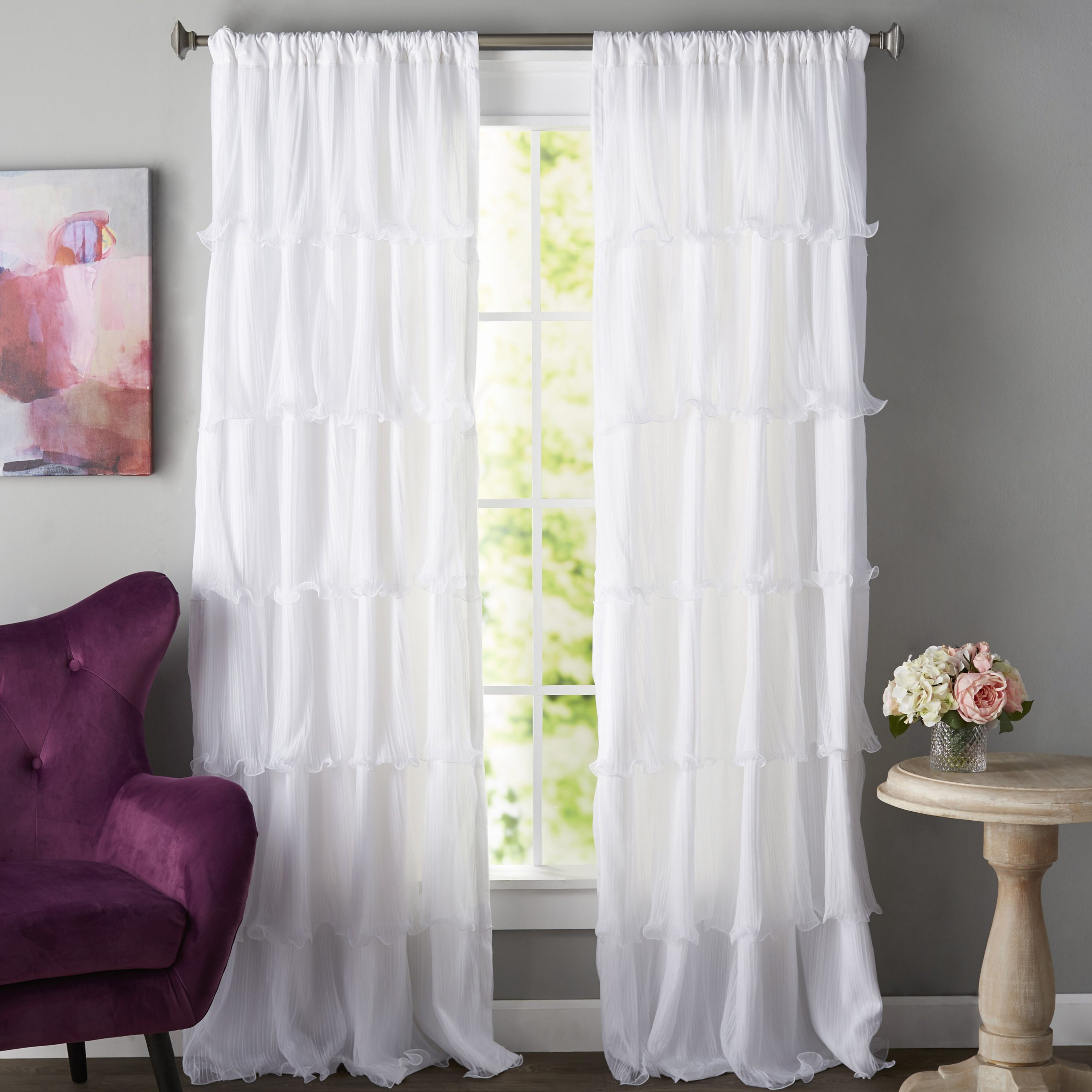 Elegant Crushed Voile Ruffle Window Curtain Pieces Pertaining To Well Known Clarkson Solid Semi Sheer Rod Pocket Single Curtain Panel (View 16 of 20)