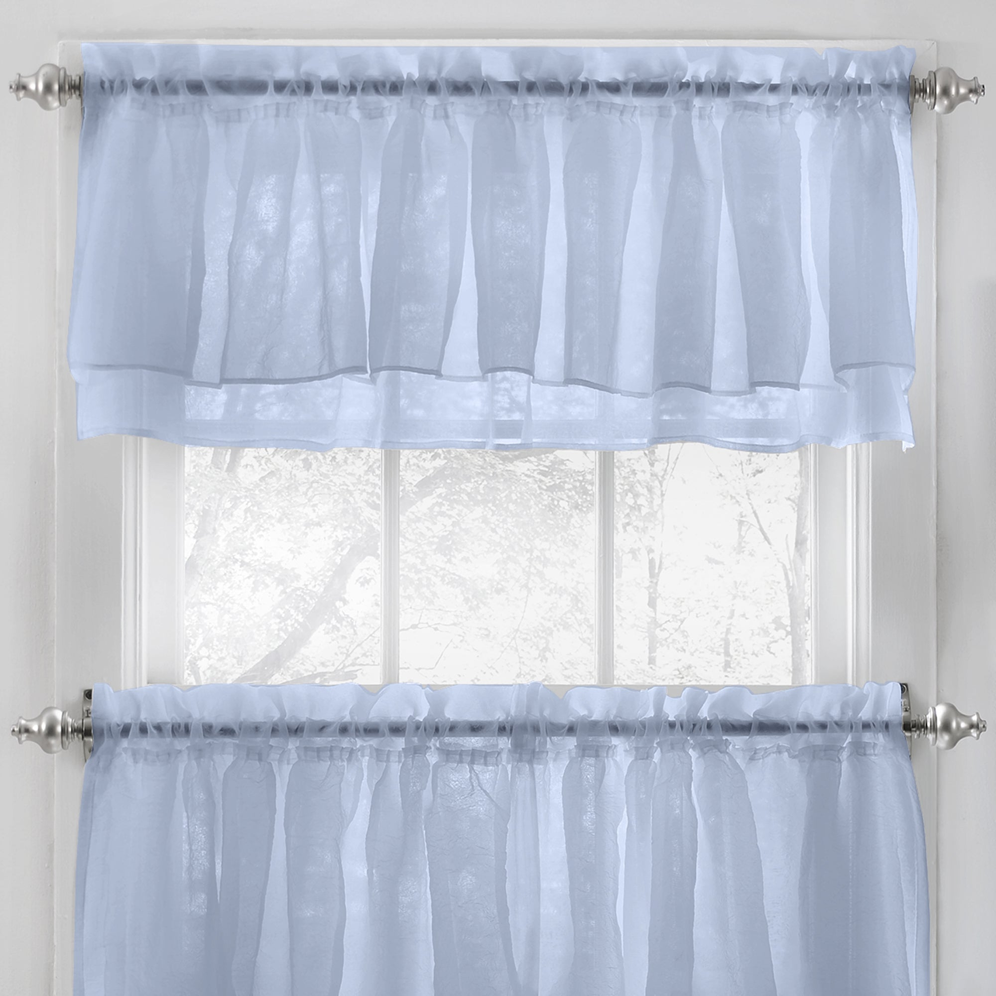 Elegant Crushed Voile Ruffle Window Curtain Pieces Regarding Current Elegant Crushed Voile Ruffle Blue/white/pink/purple/beige Window Curtain  Pieces With Optional Valance And Tiers (Gallery 4 of 20)