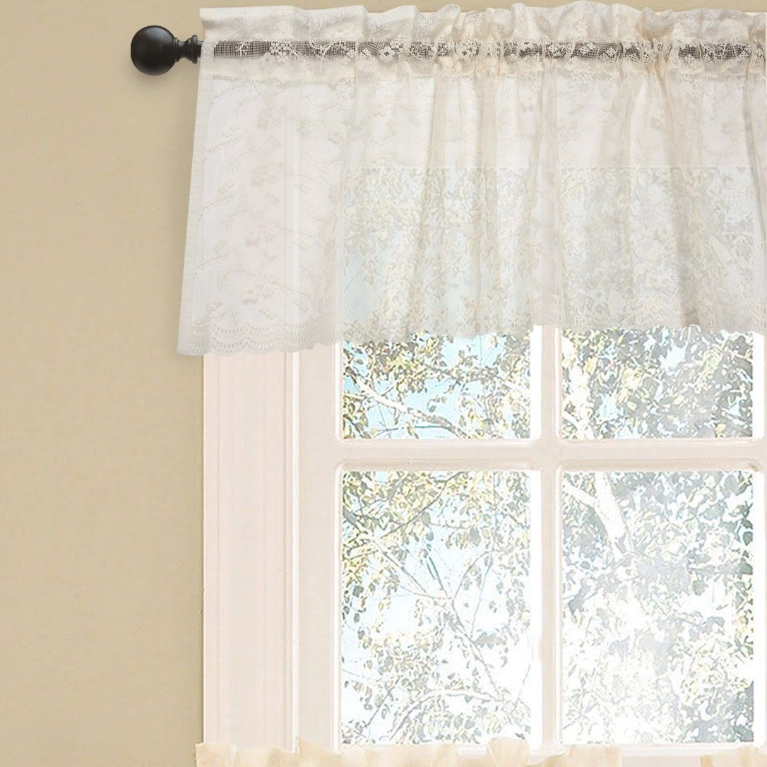 Elegant Ivory Priscilla Lace Kitchen Curtain Pieces Tier Pertaining To Famous Elegant White Priscilla Lace Kitchen Curtain Pieces (View 4 of 20)