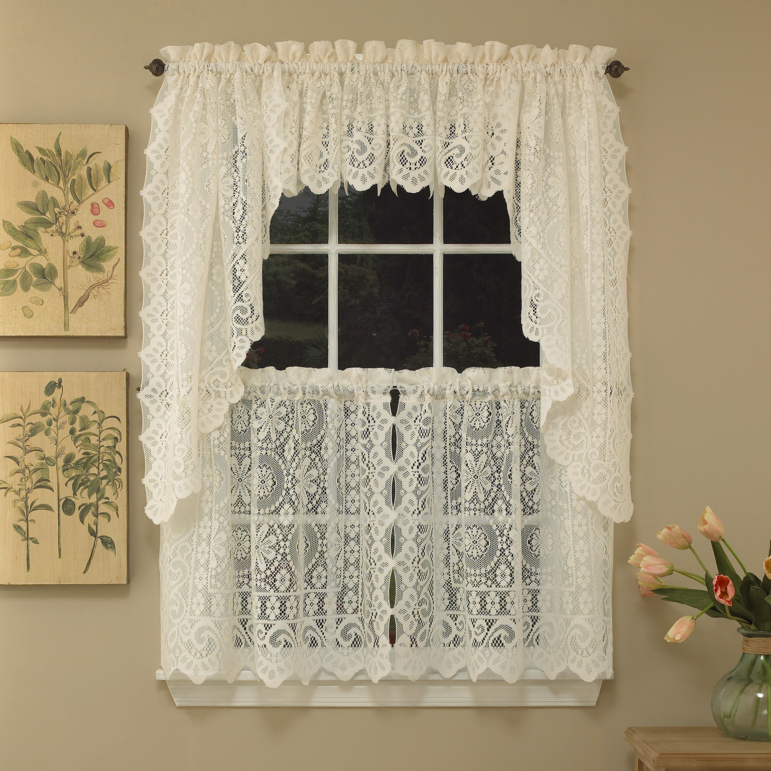 Elegant White Priscilla Lace Kitchen Curtain Pieces Regarding Newest Details About Hopewell Heavy Cream Lace Kitchen Curtain Choice Of Tier Valance Or Swag (View 14 of 20)