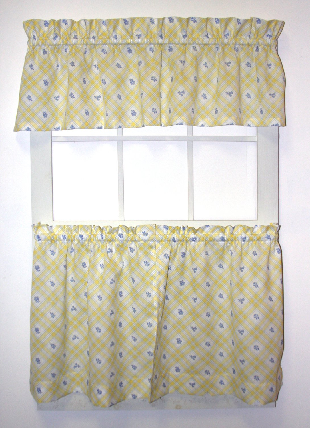 Ellis Curtain Kimberly Floral Plaid Print 24 Inch Long Tailored Tiers &  Valance Set In Newest Barnyard Window Curtain Tier Pair And Valance Sets (Gallery 8 of 20)