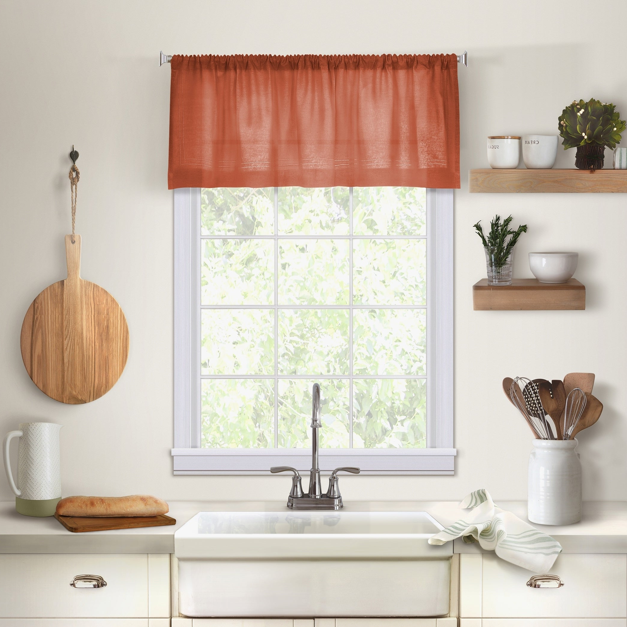 "Elrene Cameron Linen Kitchen Window Valance – 60"" W X 15"" L Pertaining To Newest Linen Stripe Rod Pocket Sheer Kitchen Tier Sets (View 17 of 20)"
