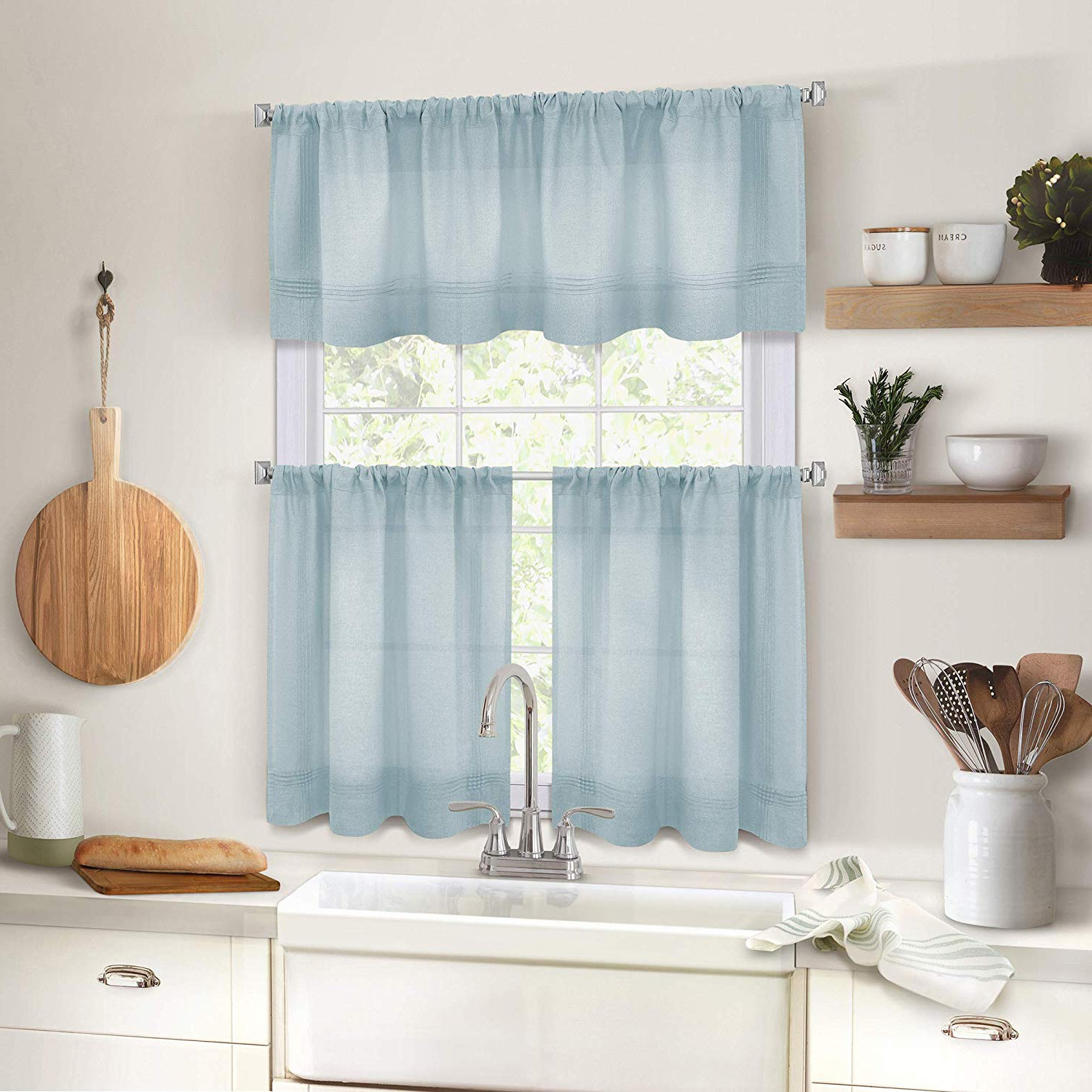 """Elrene Home Fashions Pintuck Kitchen Window Tier Set Of 2, 30"""" X 24"""",  Mineral, 2 Pieces With Regard To Well Liked Pintuck Kitchen Window Tiers (Gallery 3 of 20)"""