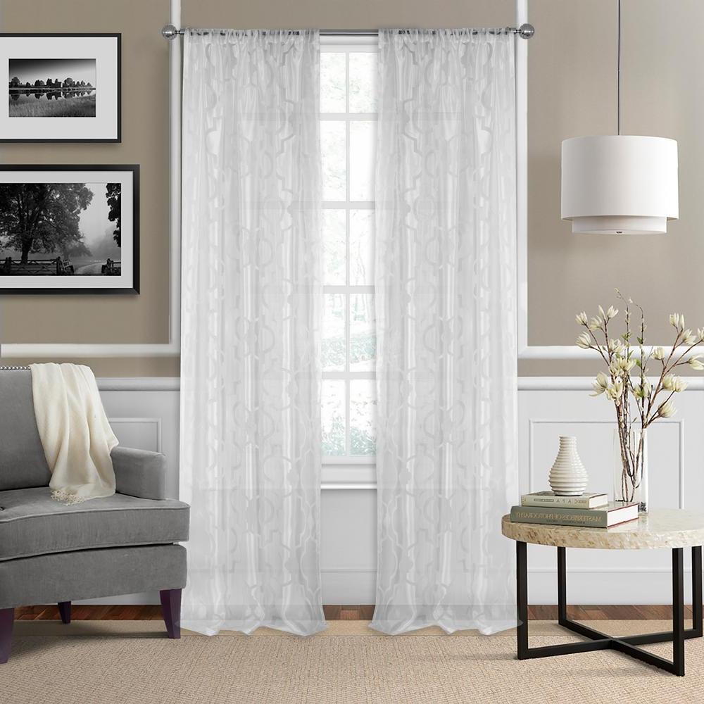 Elrene Montego Burnout Trellis Sheer Window Curtain Pertaining To Well Liked Trellis Pattern Window Valances (View 17 of 20)