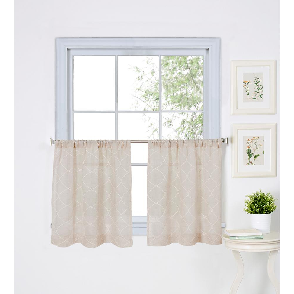 Elrene Taylor Kitchen Tier Set Of 2 With Most Recently Released Coffee Embroidered Kitchen Curtain Tier Sets (View 16 of 20)