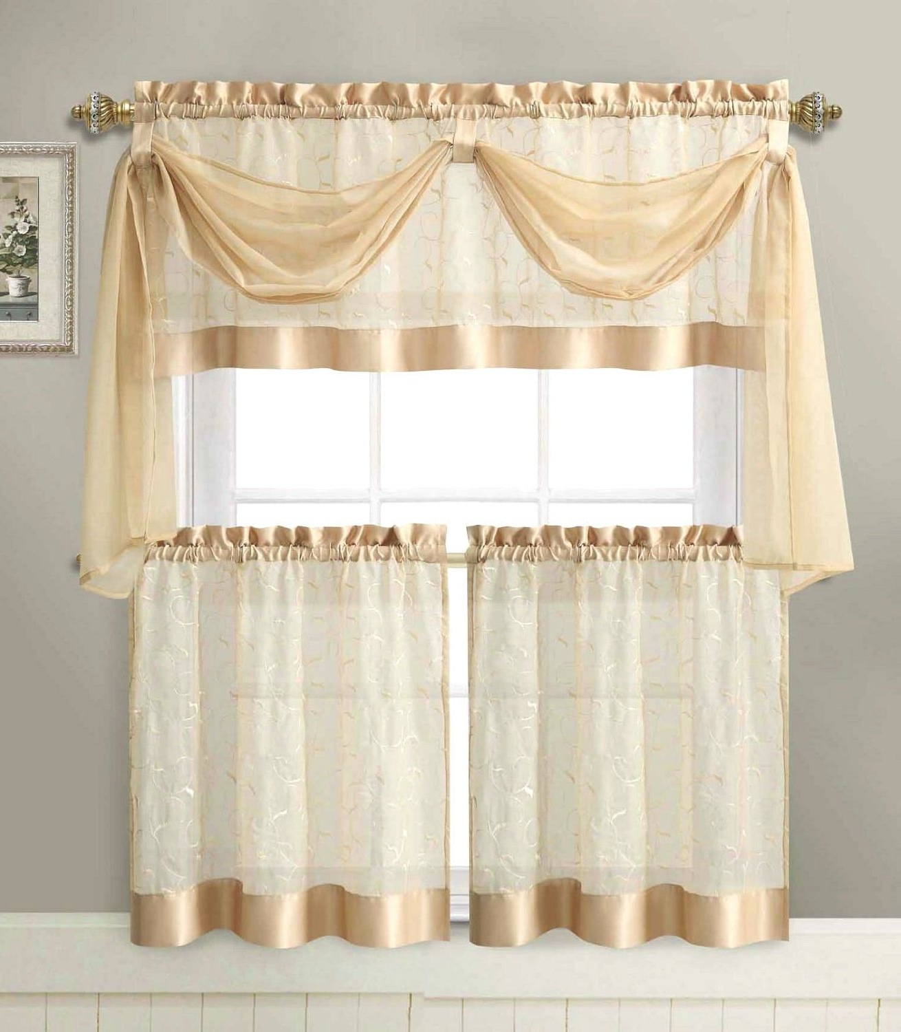 Embroidered 'coffee Cup' 5 Piece Kitchen Curtain Sets Inside Best And Newest Linen Leaf 4 Pc. Tier & Valance Kitchen Curtain Set – Gold (Gallery 12 of 20)