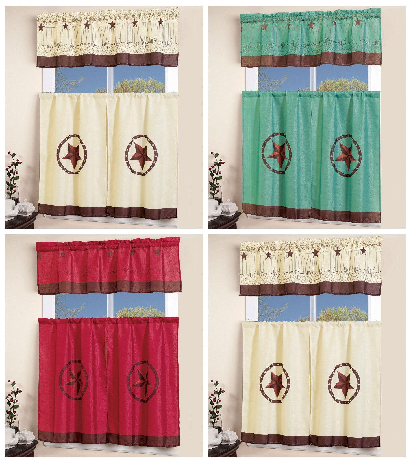 Embroidered 'coffee Cup' 5 Piece Kitchen Curtain Sets Intended For Most Recently Released 3 Pcs Western Texas Star Kitchen Curtai (View 17 of 20)