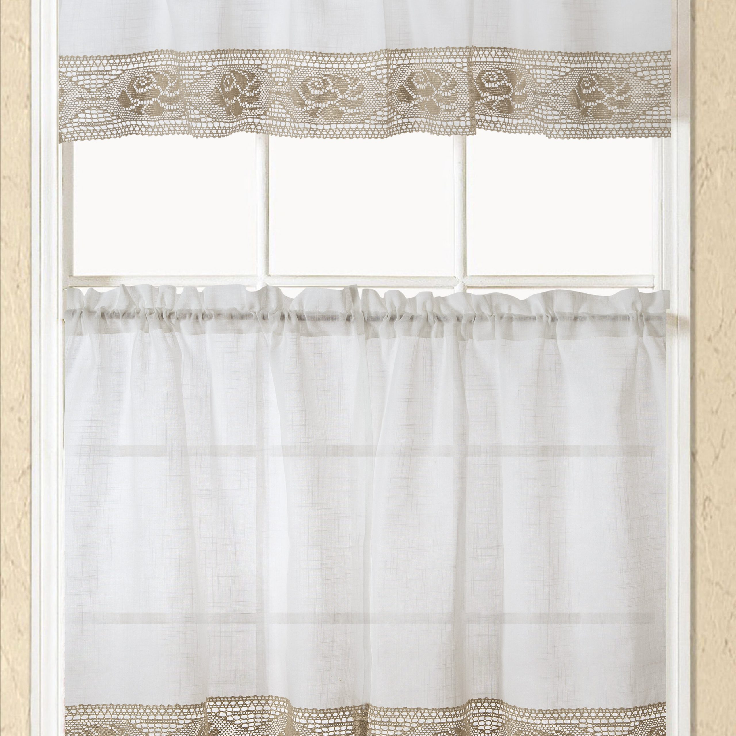 """Embroidered 'coffee Cup' 5 Piece Kitchen Curtain Sets Within 2021 Eden Macrame 15"""" Kitchen Curtain (Gallery 16 of 20)"""