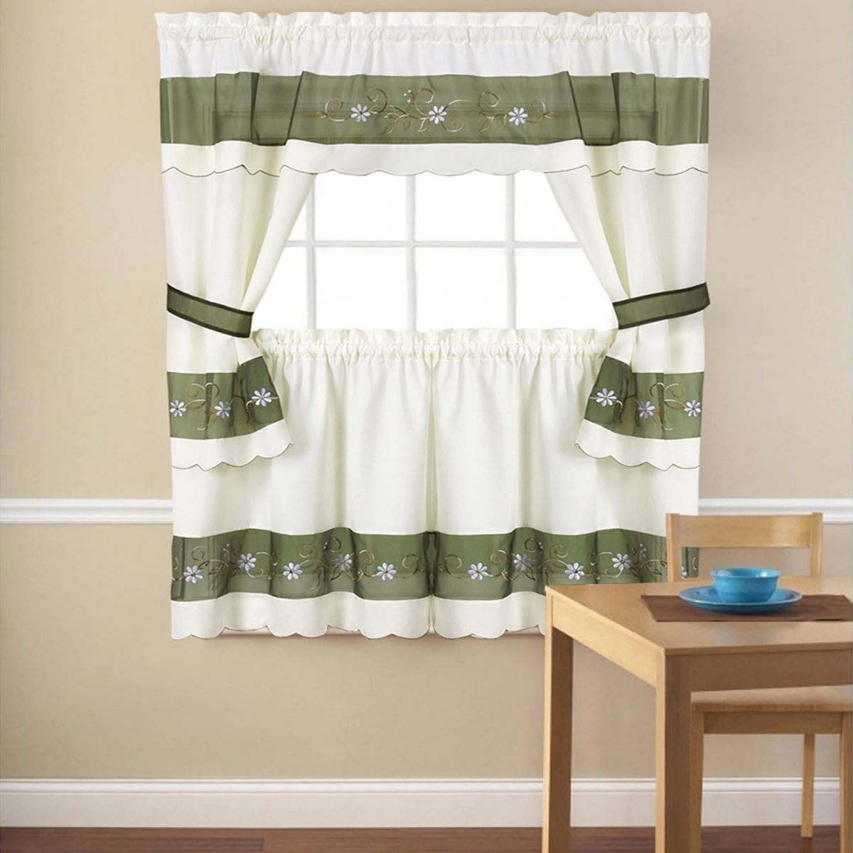 "Embroidered Floral 5 Piece Kitchen Curtain Set (58""x24 In Most Up To Date Chocolate 5 Piece Curtain Tier And Swag Sets (Gallery 16 of 20)"