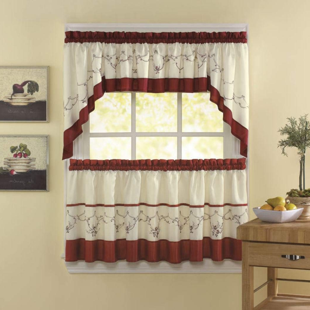 Embroidered Floral 5 Piece Kitchen Curtain Sets Throughout Recent Amazon: 5 Piece Cinnabar Ivory Floral Embroidered (View 2 of 20)