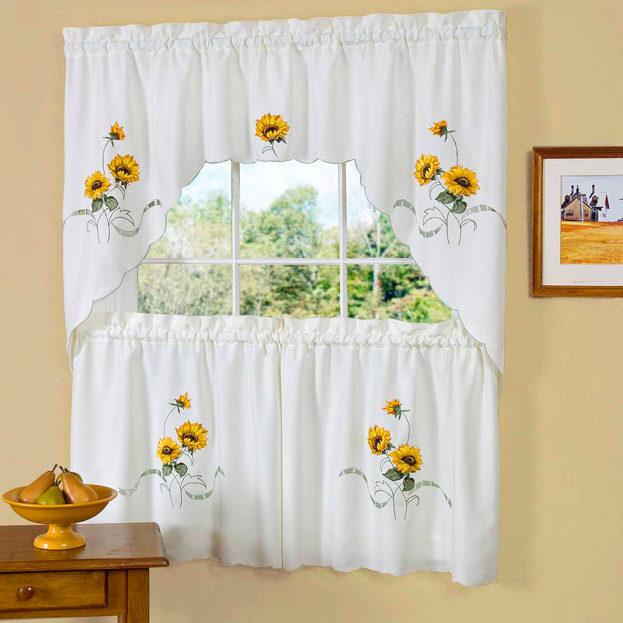"""Embroidered Ladybug Meadow Kitchen Curtains 24"""", 36"""" Tier Pair, 36"""" Swag Pair Or 12"""" Valance Regarding Preferred Embroidered Ladybugs Window Curtain Pieces (View 19 of 20)"""