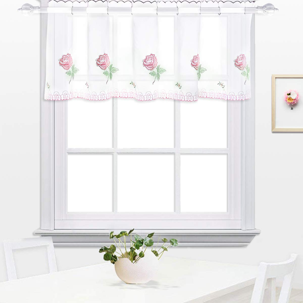 Embroidered Rod Pocket Kitchen Tiers Within Famous White Semi Sheer Valances With Embroidered Rose Kitchen Tier Curtain, Cafe  Curtain, Dining Room Curtain (Pink Flower, 18 X 59 Inches (45X150Cm)) (View 5 of 20)