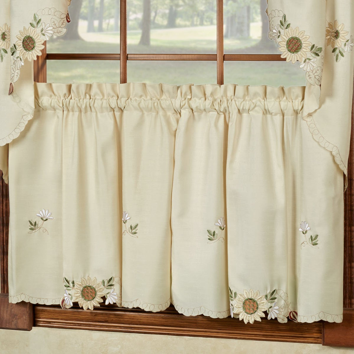 Embroidered Sunflower Kitchen Curtains Separates Tier, Swag And Valance Options Regarding Latest Sunflower Cottage Kitchen Curtain Tier And Valance Sets (View 9 of 20)
