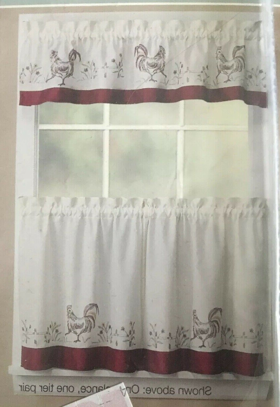 """Essential Home Rooster Tier Pair 56""""wx36""""l Intended For Most Up To Date Embroidered Chef Black 5 Piece Kitchen Curtain Sets (View 19 of 20)"""