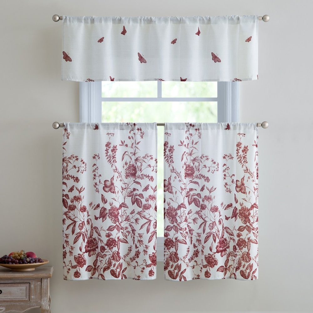 Estela 3 Piece Kitchen Curtain Set, Red, Valance 57x15 Inches Tiers 28x36 Inches Within Preferred Red Delicious Apple 3 Piece Curtain Tiers (View 18 of 20)
