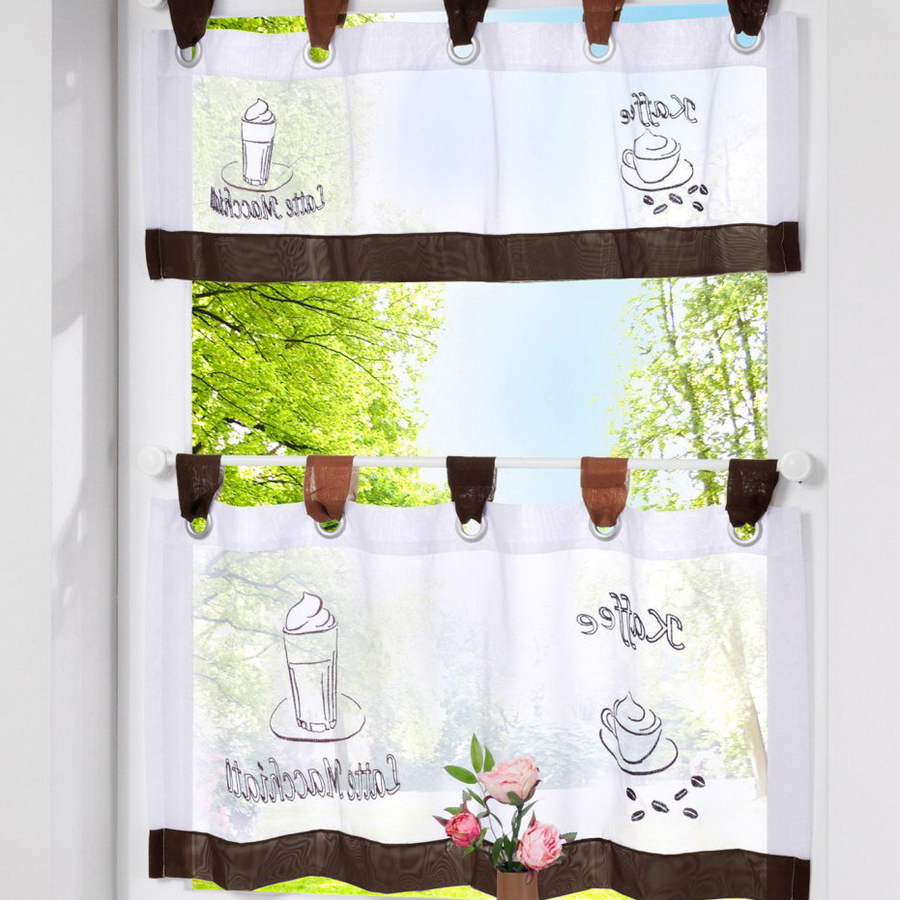 European Style Bistro Window Curtain Fancy Tap Top Kitchen For Latest Coffee Embroidered Kitchen Curtain Tier Sets (View 10 of 20)