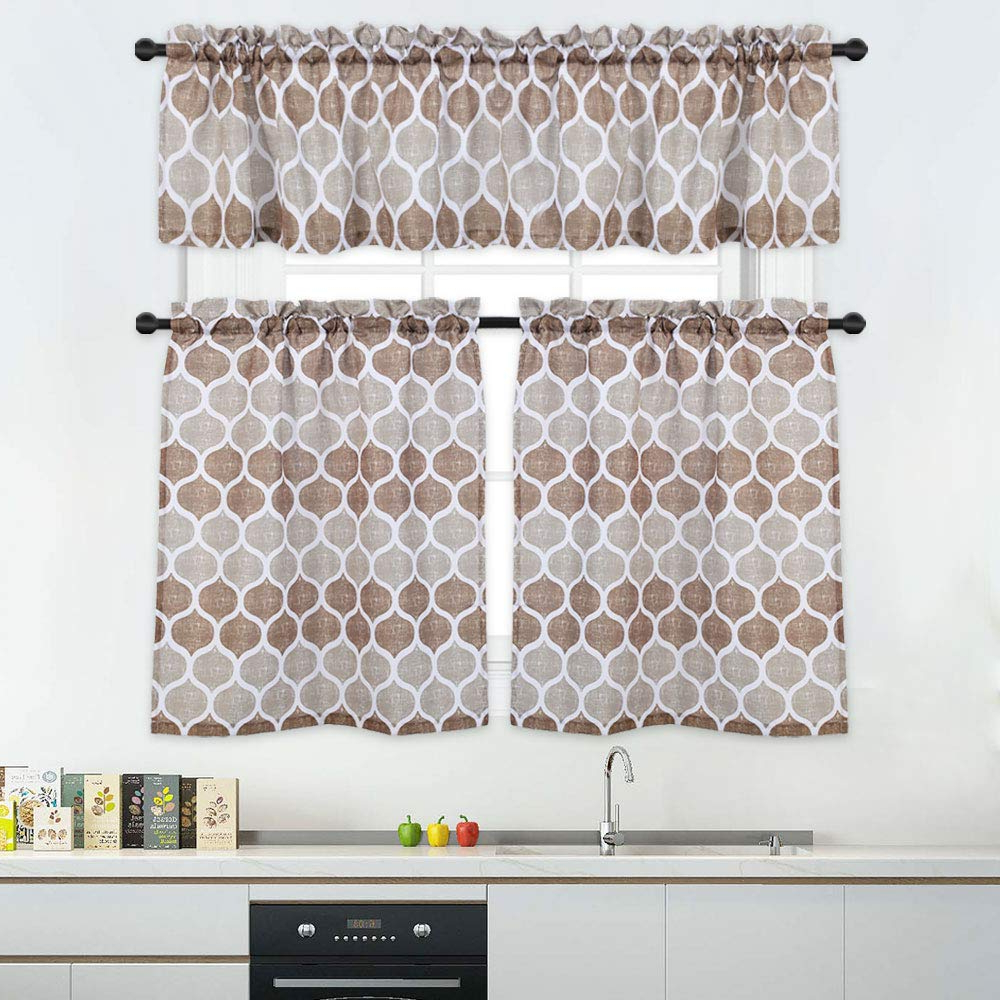 Famous 3 Pieces Tier Curtains And Valances Set, Moroccan Tile Print Kitchen/cafe Window Curtain Sets, Tailored Drapery Lattice Pattern Curtains For Bathroom, For Geometric Print Microfiber 3 Piece Kitchen Curtain Valance And Tiers Sets (View 2 of 20)