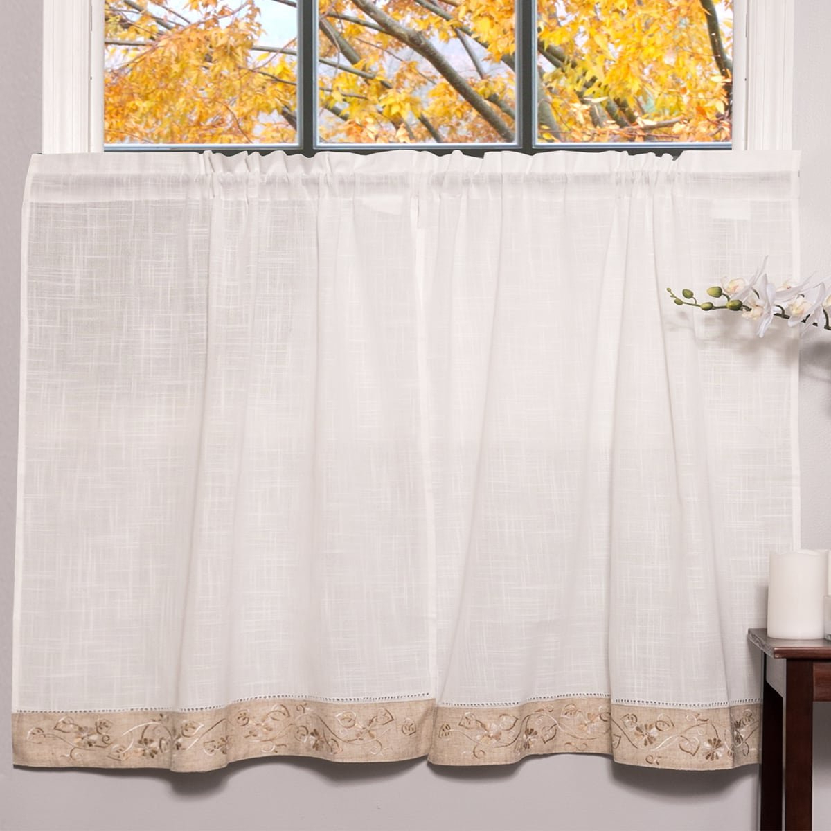 Famous Amazon: Bed Bath N More Oakwood Linen Style Decorative Inside Oakwood Linen Style Decorative Window Curtain Tier Sets (Gallery 2 of 20)