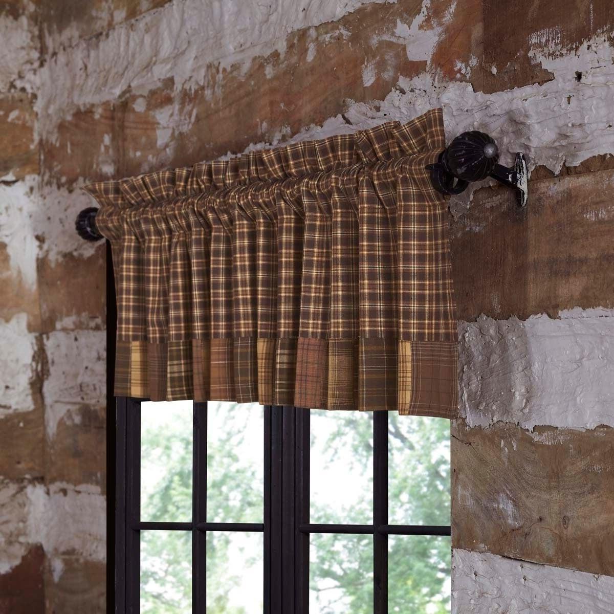 Famous Brown Rustic Kitchen Curtains Vhc Prescott Valance Rod Pocket Cotton Plaid  Patchwork – Valance 16X72 For Rustic Kitchen Curtains (Gallery 9 of 20)