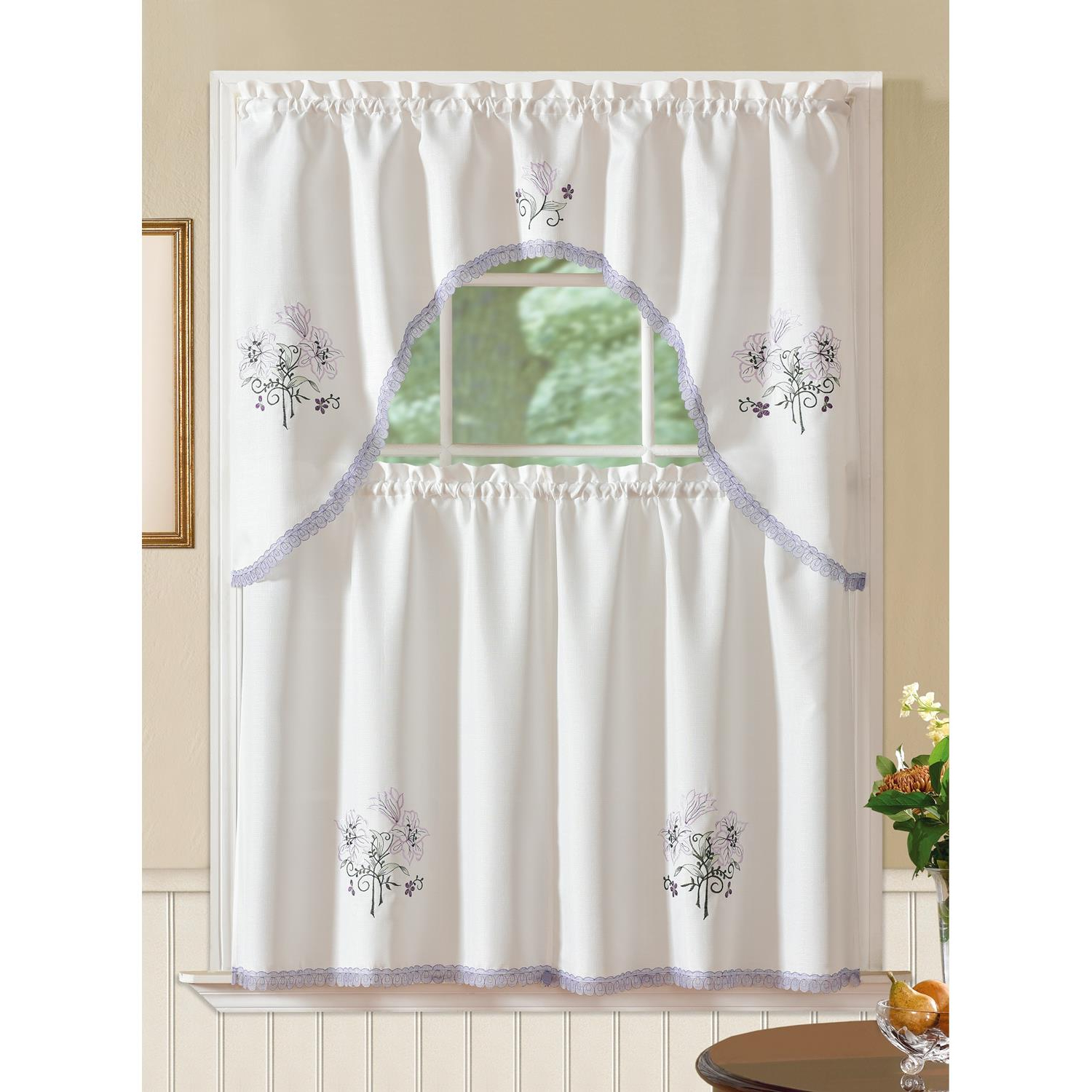 Famous Details About Regal Embroidered Lily Kitchen Curtain Set Inside Cotton Blend Ivy Floral Tier Curtain And Swag Sets (View 15 of 20)