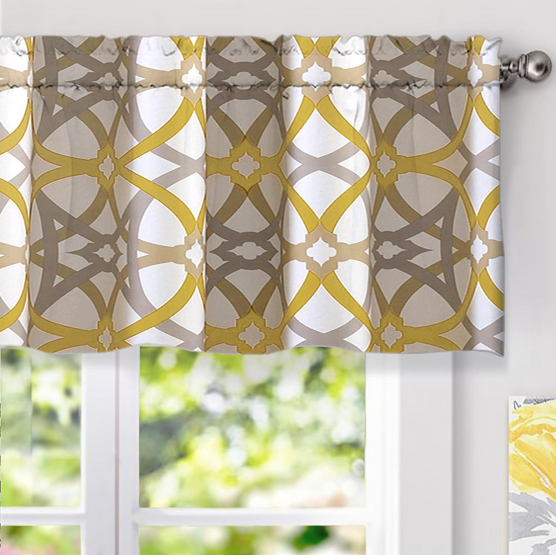 Famous Driftaway Alexander Spiral Geo Trellis Pattern Window Curtain Valance Rod Pocket 52 Inch18 Inch Plus 2 Inch Header Yellow And Gray Pertaining To Trellis Pattern Window Valances (View 8 of 20)