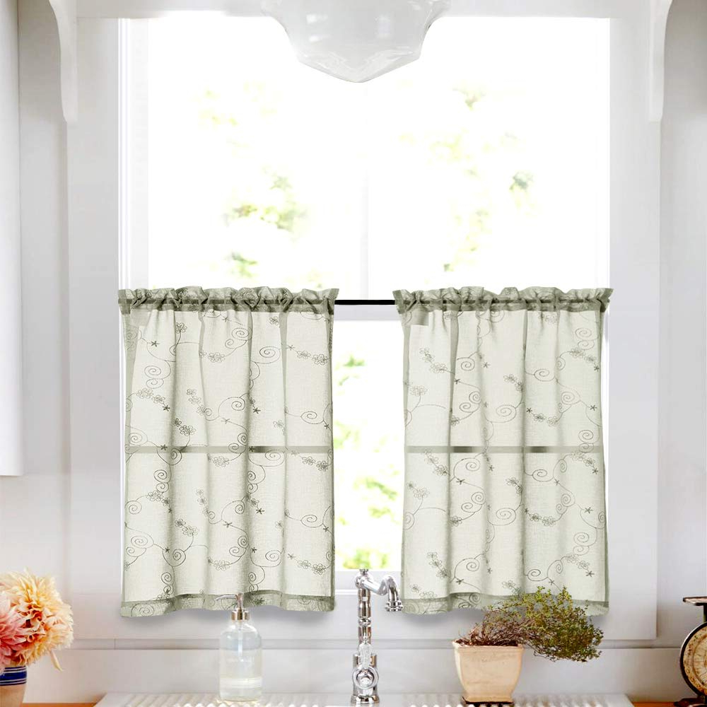 Famous Embroidered Rod Pocket Kitchen Tiers Inside Green Sheer Tiers Kitchen Floral Embroidered Semi Kitchen Tier Curtains  Valance Set 36 Inch Embroidery For Bathroom Rod Pocket,sage (Gallery 1 of 20)
