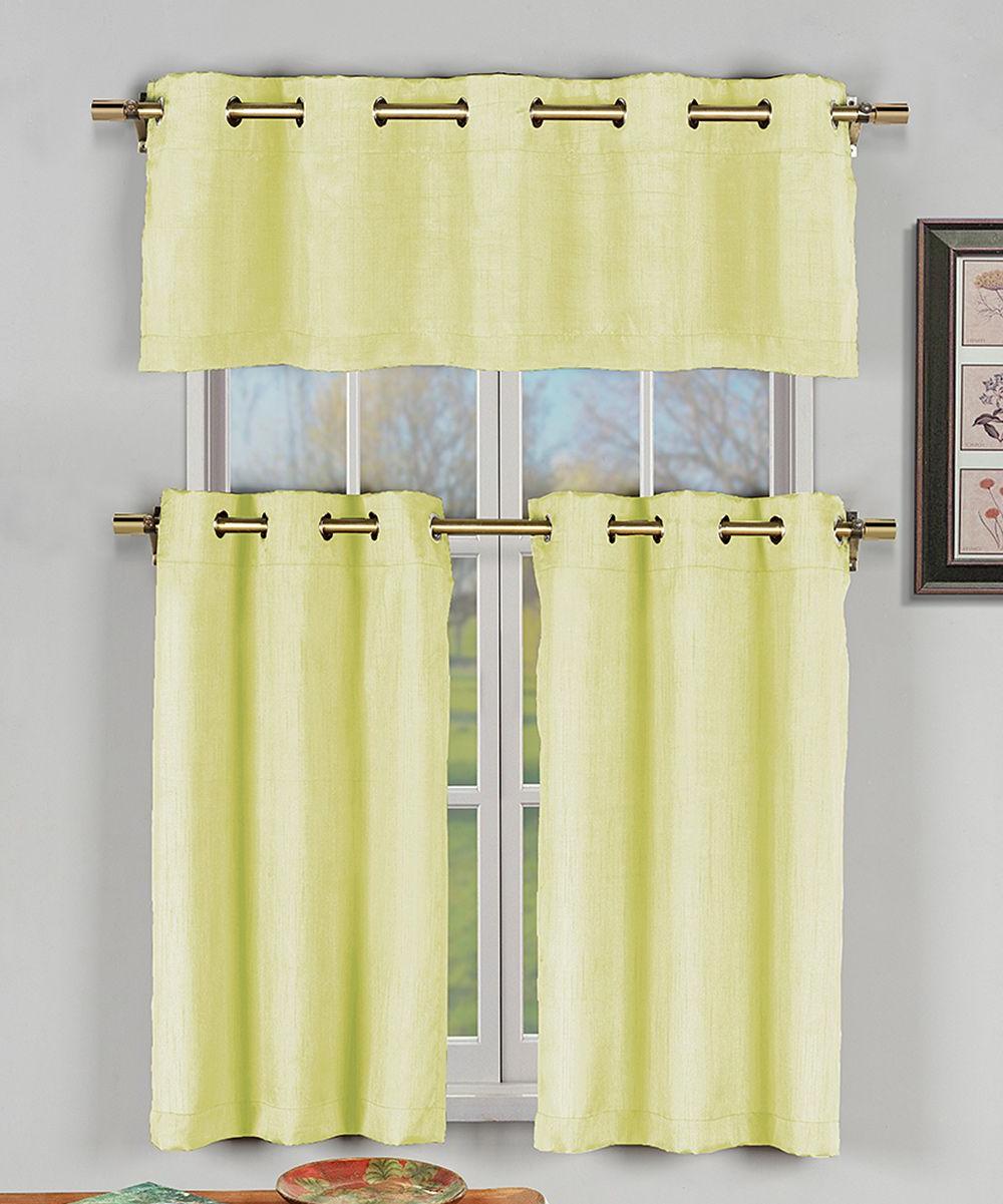Famous Faux Silk 3 Piece Kitchen Curtain Sets For Yellow Faux Silk Agnes Three Piece Curtain Panel Set (View 4 of 20)
