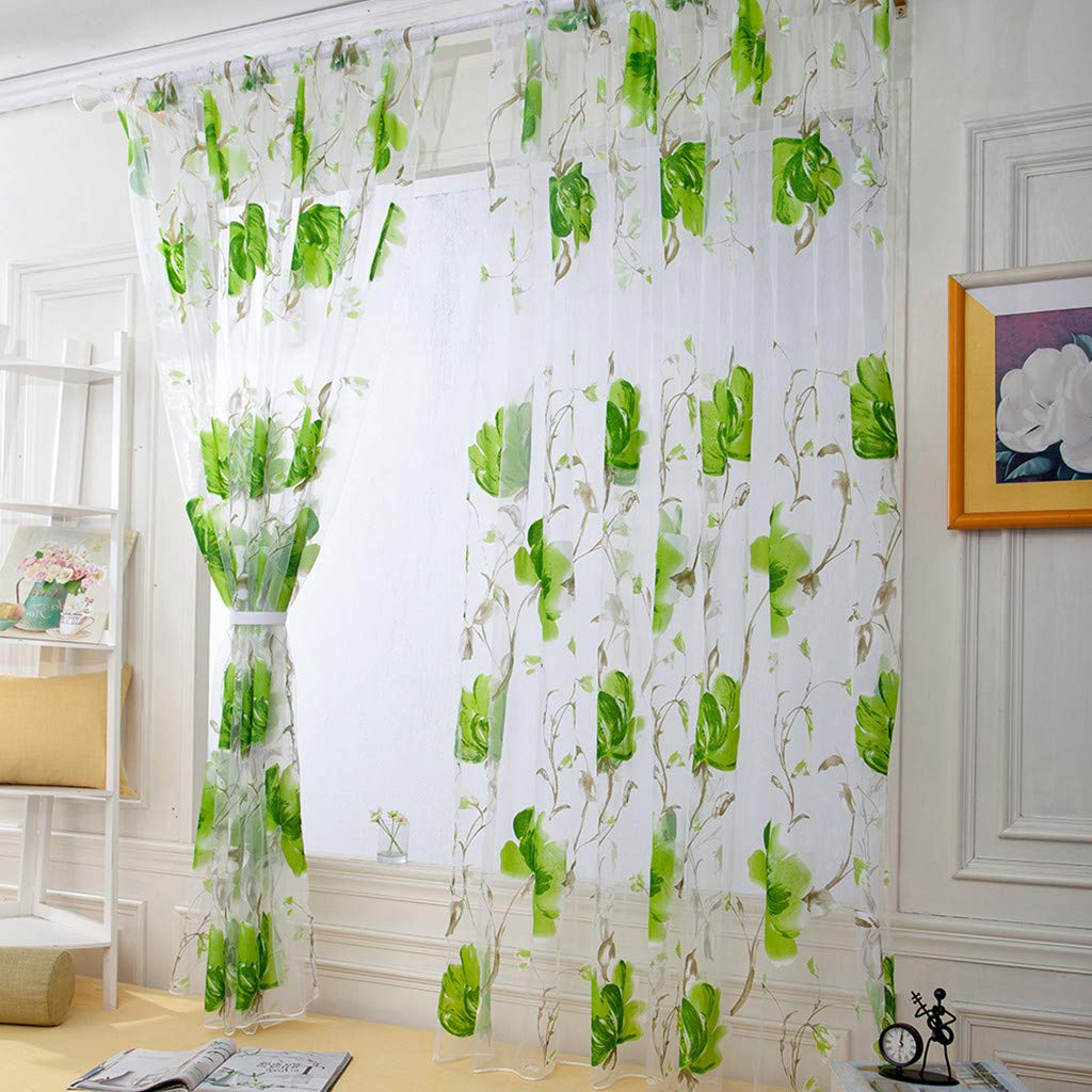 Famous Floral Watercolor Semi Sheer Rod Pocket Kitchen Curtain Valance And Tiers Sets Pertaining To Amazon: Nszzjixo9 Floral Vines Leaves Tulle Curtains For (View 17 of 20)