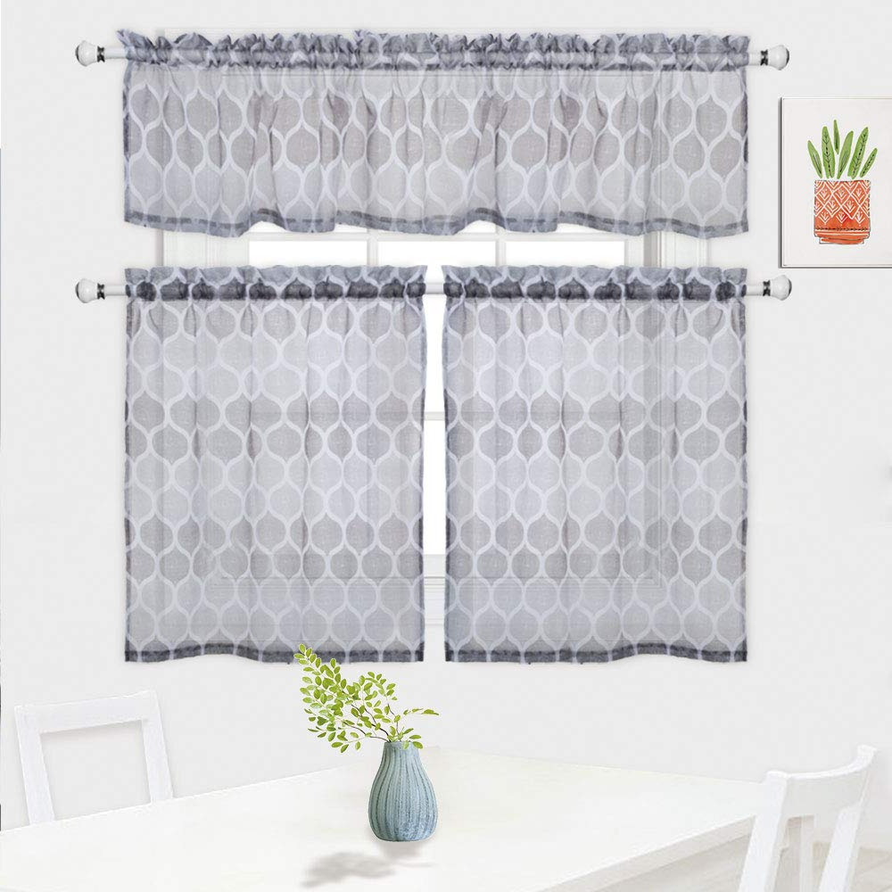 Famous Haperlare 3 Pieces Moroccan Pattern Sheer Kitchen Tier Curtains And Valance Set For Cafe Bathroom, Trellis Design Living Room Curtain Sets, 36 Inch, Throughout Tree Branch Valance And Tiers Sets (View 9 of 20)