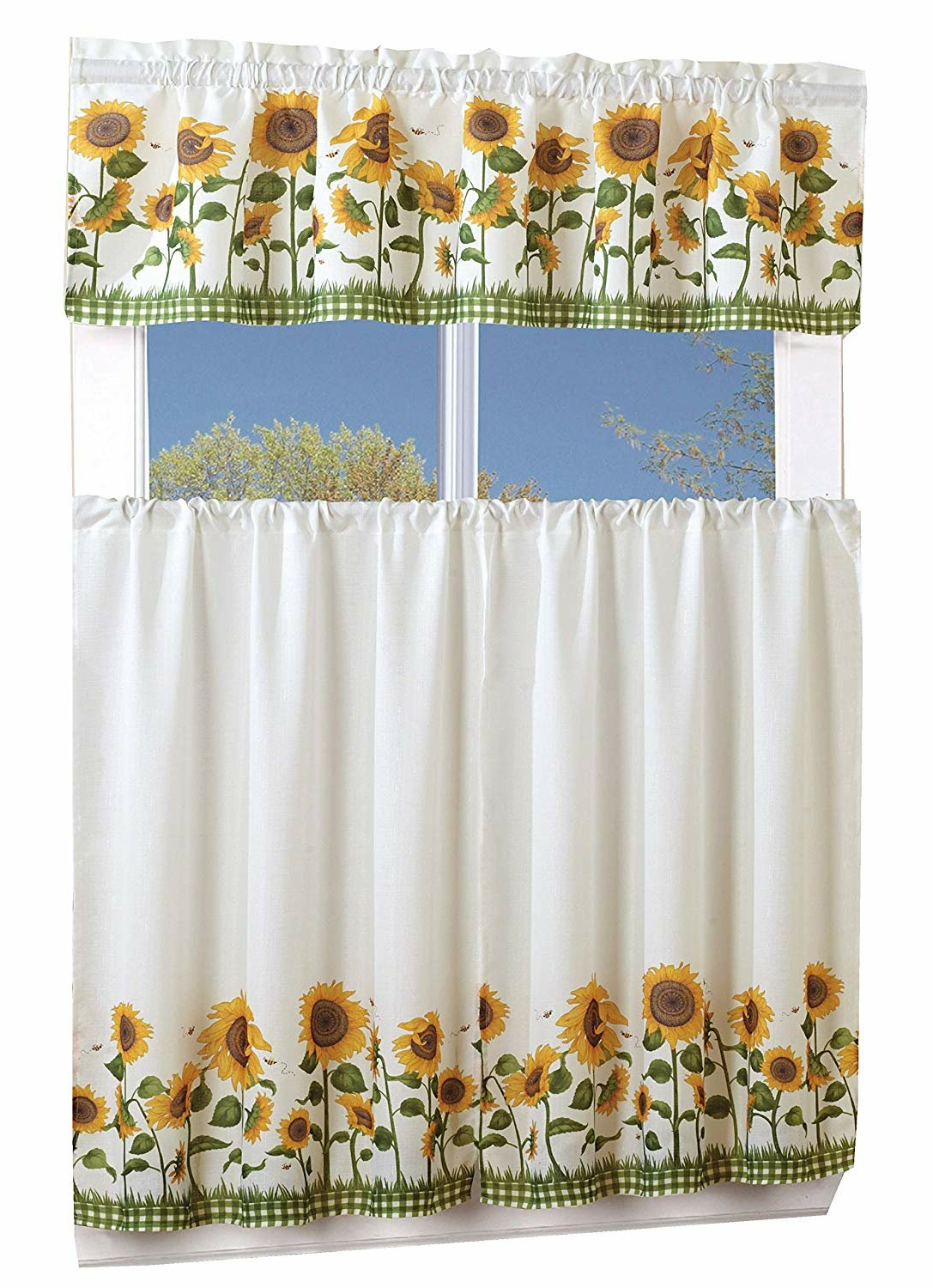Famous Lamont 3 Piece Sunflower Curtain Set Inside Traditional Tailored Window Curtains With Embroidered Yellow Sunflowers (View 9 of 20)