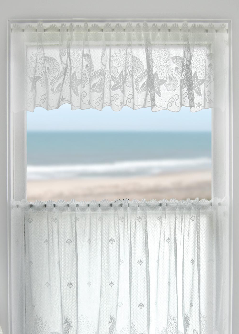 Famous Marine Life Motif Knitted Lace Window Curtain Pieces Intended For Coastal Seascape Lace Valanceheritage Lace. #coastal (Gallery 13 of 20)