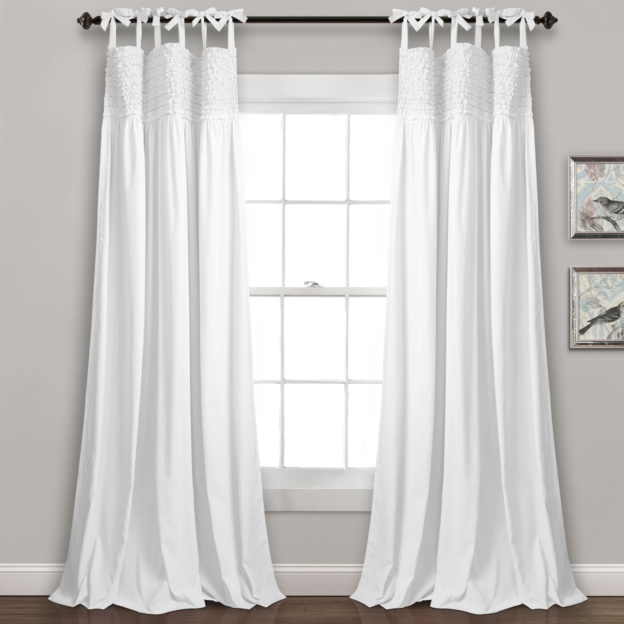 Famous Marine Life Motif Knitted Lace Window Curtain Pieces Pertaining To Edvin Ruffle Solid Semi Sheer Tie Top Window Panels (View 15 of 20)
