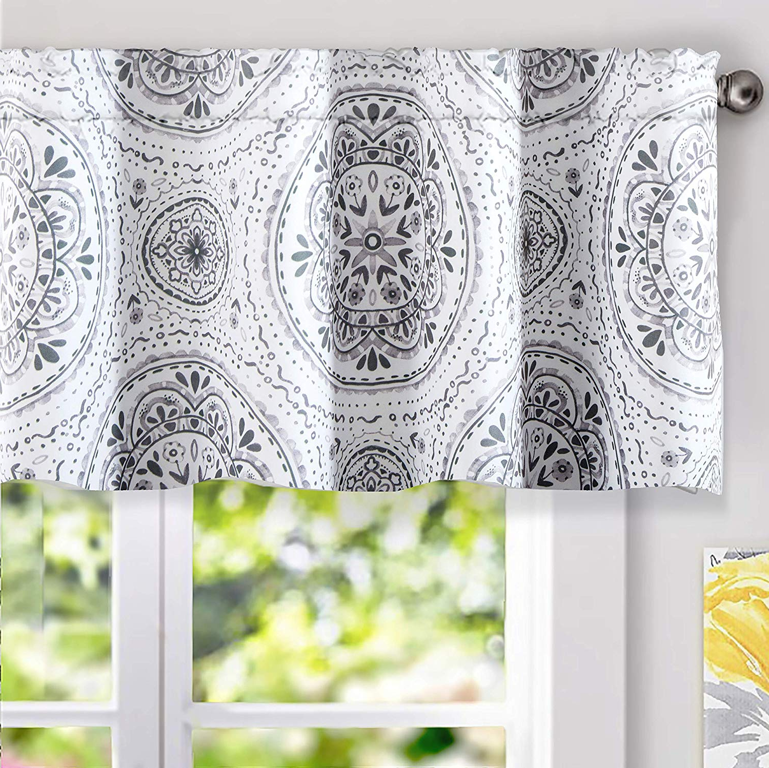 Famous Medallion Window Curtain Valances Throughout Driftaway Lucia Medallion Pattern Lined Thermal Insulated Energy Saving Window Curtain Valance For Living Room 2 Layers Rod Pocket 5218 Inch Plus (View 3 of 20)