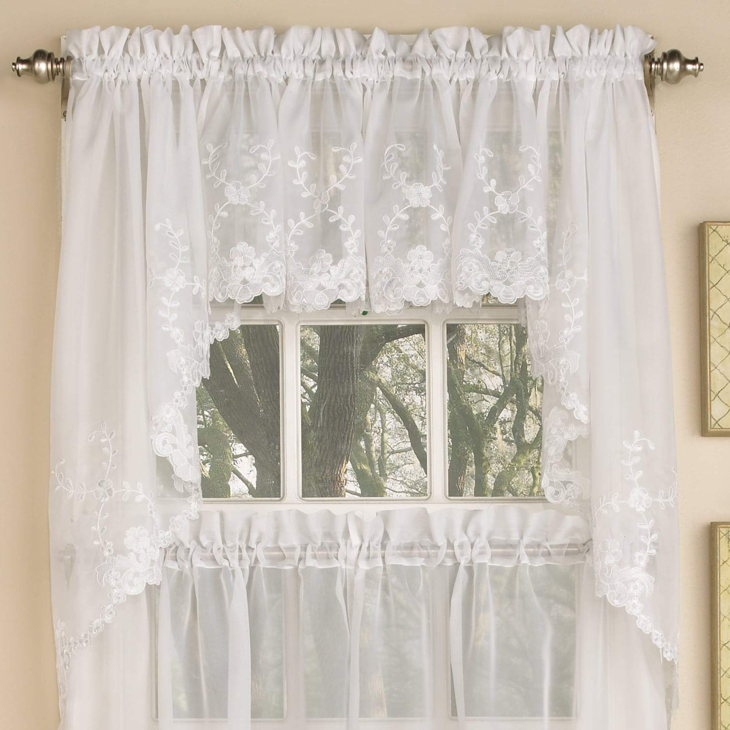 Famous Micro Striped Semi Sheer Window Curtain Pieces Within Amazon: Bed Bath N More Sheer Voile Embroidered (View 9 of 20)