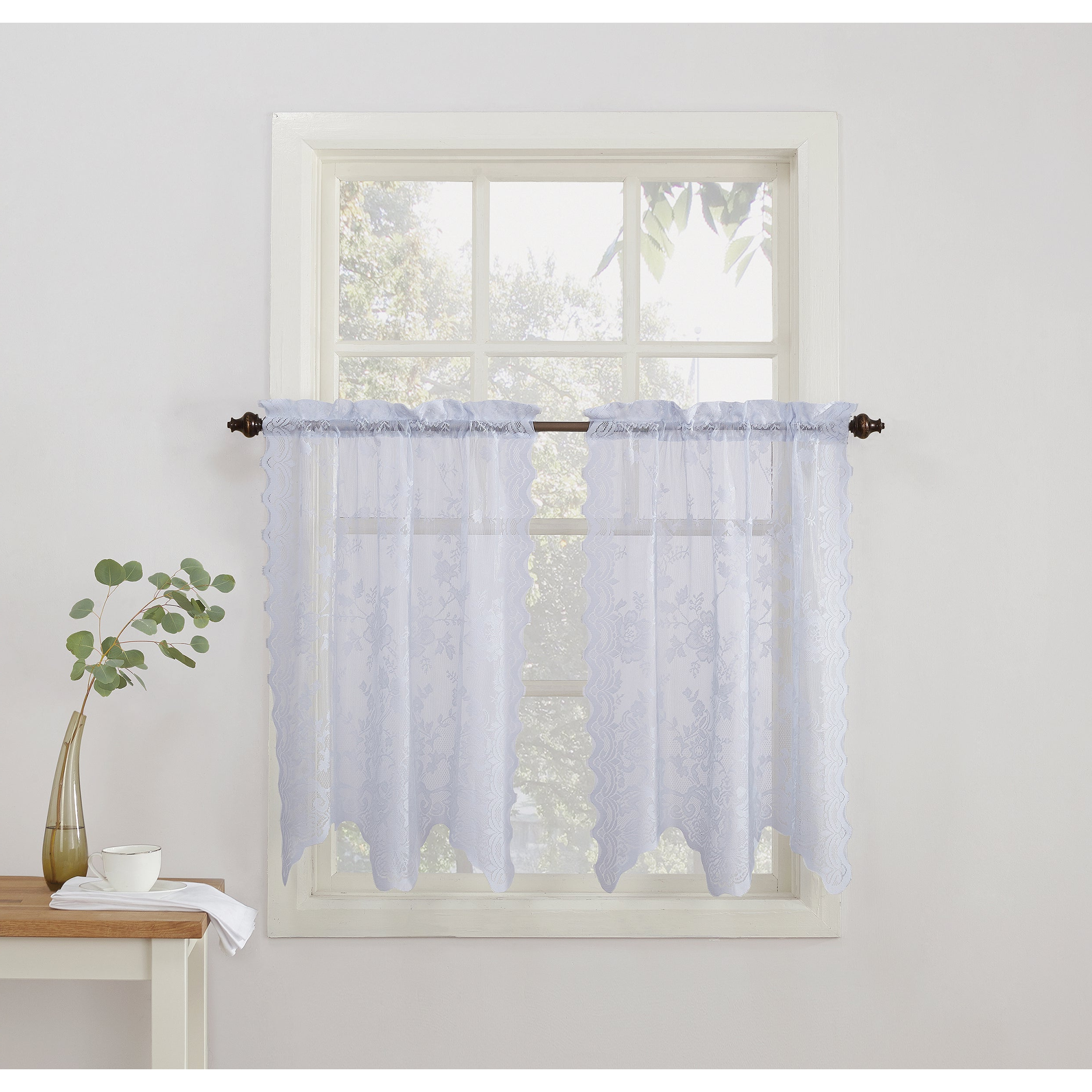 Famous No. 918 Alison Sheer Lace Elongated Kitchen Curtain Tier Pair Inside White Tone On Tone Raised Microcheck Semisheer Window Curtain Pieces (Gallery 14 of 20)