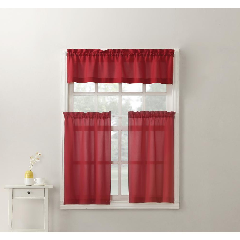 Famous No. 918 Martine Red Microfiber Kitchen Curtains (3 Piece Set) – 54 In. W X  36 In (View 15 of 20)