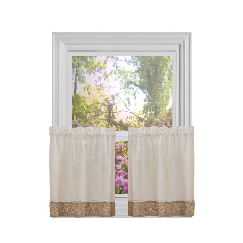 Famous Oakwood Linen Style Decorative Window Curtain Tier Sets In Achim Semi Opaque Natural Oakwood Rod Pocket Tier Pair 58 In (View 4 of 20)