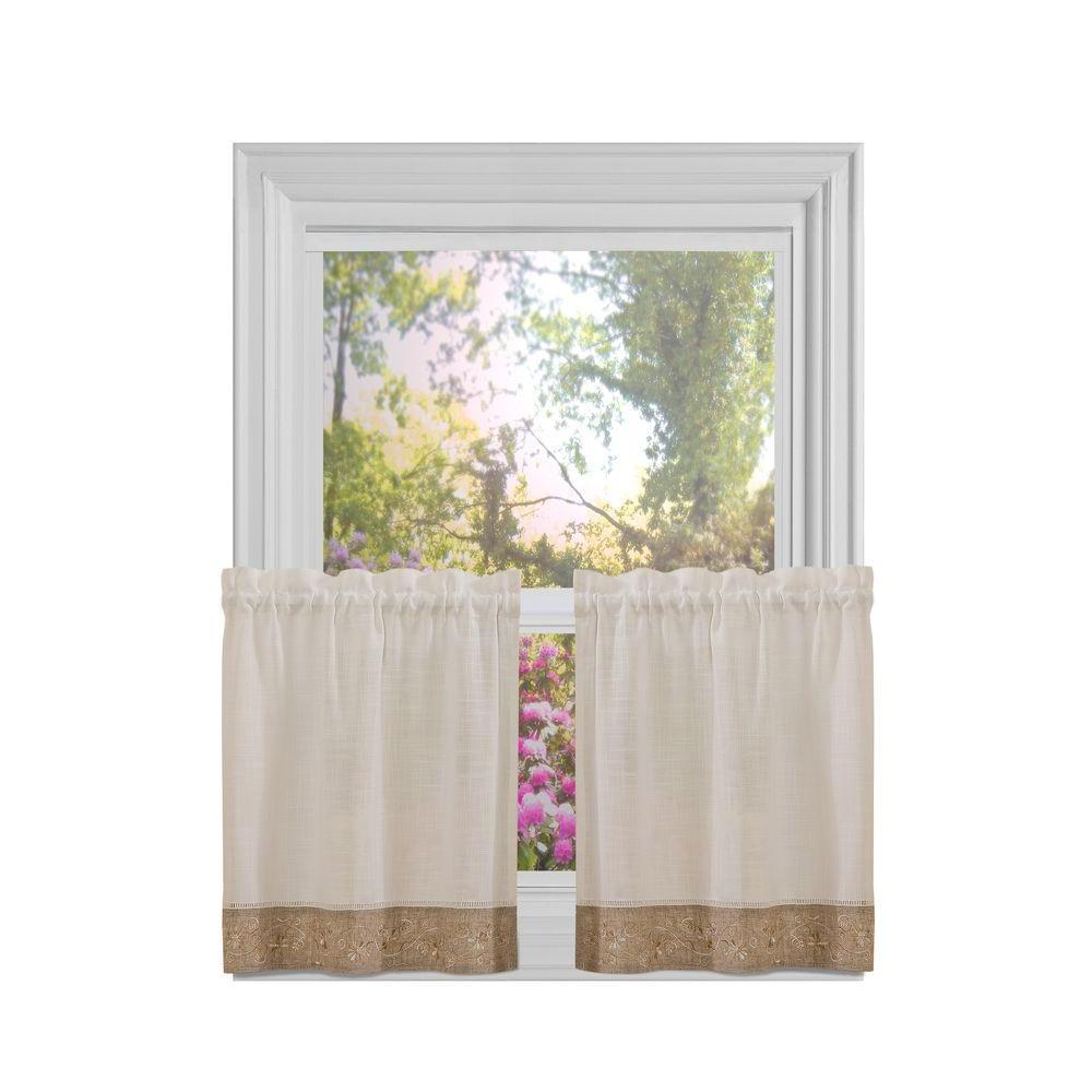 Famous Oakwood Linen Style Decorative Window Curtain Tier Sets In Achim Semi Opaque Natural Oakwood Rod Pocket Tier Pair 58 In (Gallery 13 of 20)