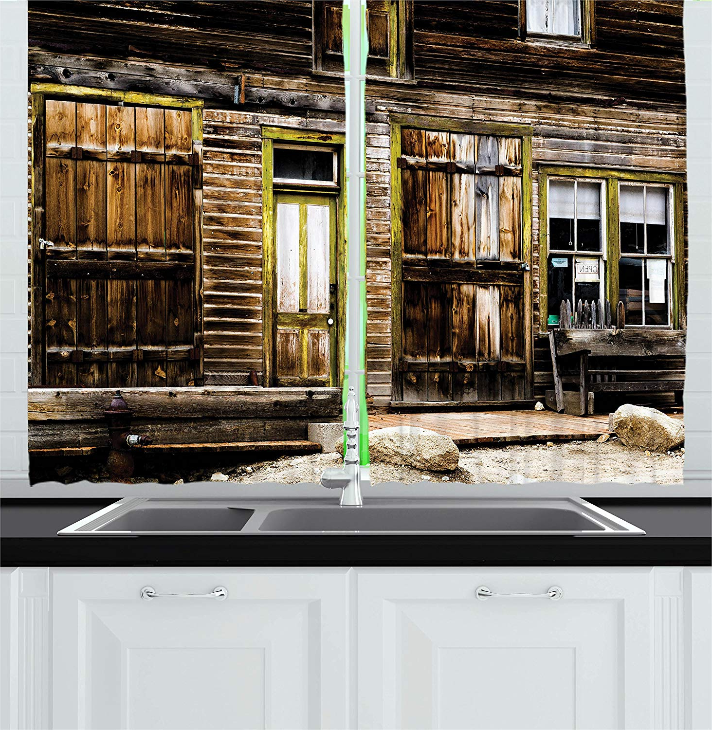 Famous Rustic Kitchen Curtains With Regard To Amazon: Ambesonne Rustic Kitchen Curtains, Old Wooden (Gallery 4 of 20)