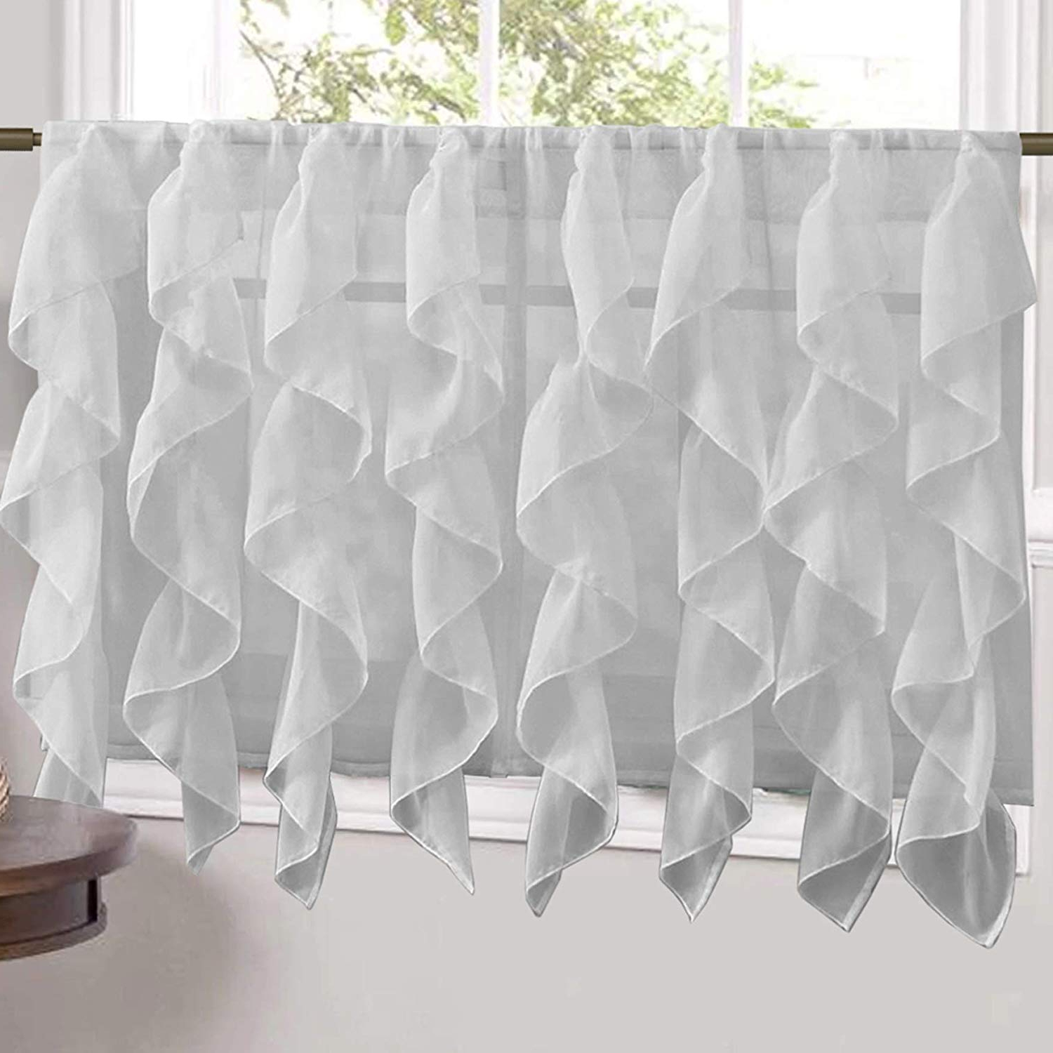 "Famous Silver Vertical Ruffled Waterfall Valance And Curtain Tiers Throughout Sweet Home Collection Veritcal Kitchen Curtain Sheer Cascading Ruffle Waterfall Window Treatment – Choice Of Valance, 24"" Or 36"" Teir, And Kit Tier (View 17 of 20)"