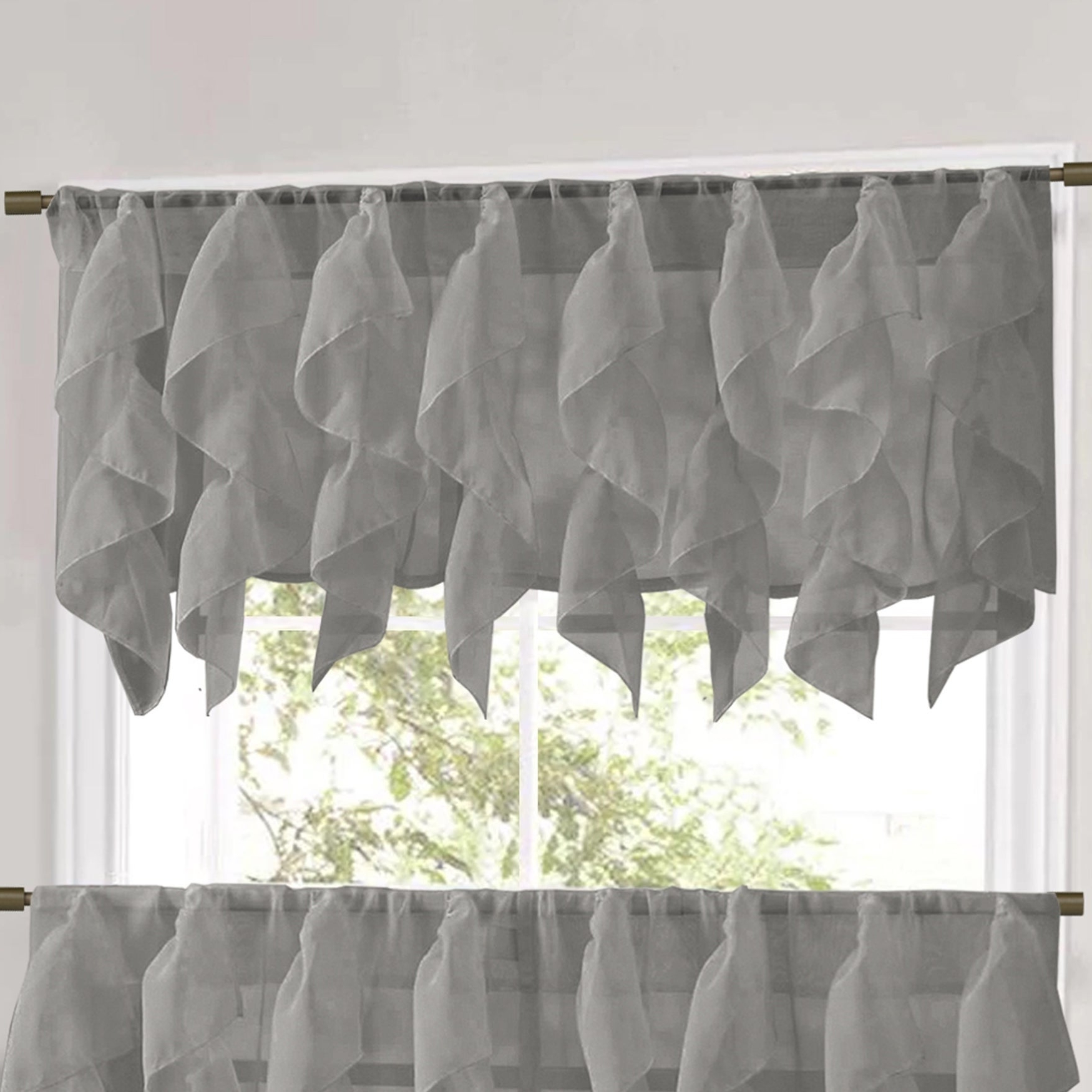 Famous Sweet Home Collection Grey Vertical Ruffled Waterfall Valance And Curtain Tiers With Regard To Vertical Ruffled Waterfall Valance And Curtain Tiers (View 8 of 20)