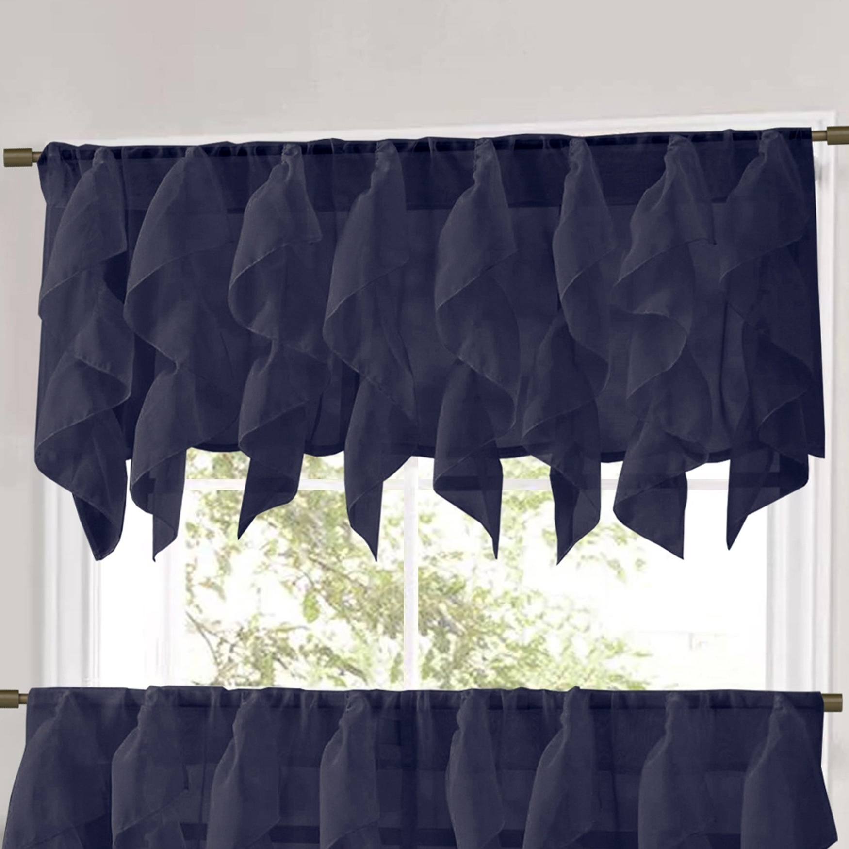Famous Sweet Home Collection Navy Vertical Ruffled Waterfall Valance And Curtain Tiers Intended For Vertical Ruffled Waterfall Valances And Curtain Tiers (View 9 of 20)