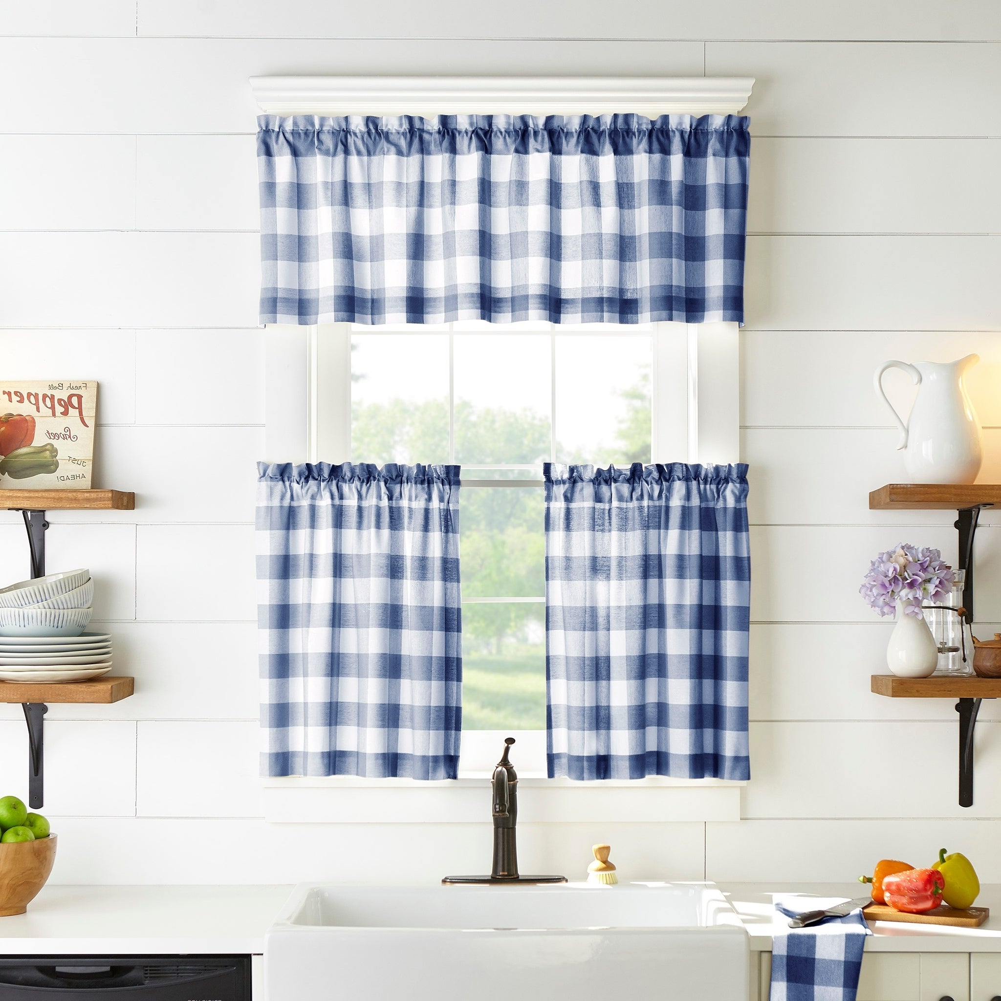 Famous The Gray Barn Emily Gulch Buffalo Check Kitchen Window Tier Set Within Classic Navy Cotton Blend Buffalo Check Kitchen Curtain Sets (View 18 of 20)