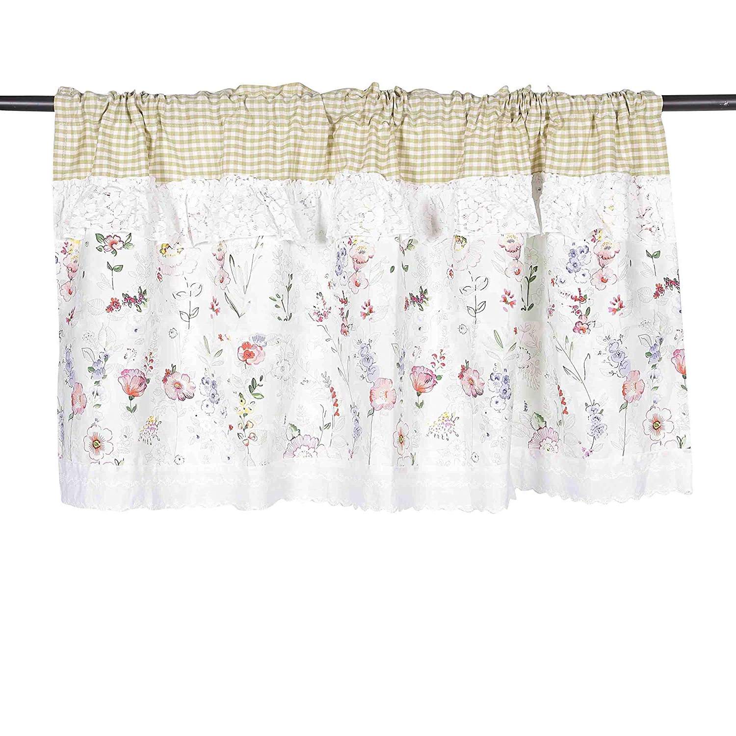 Famous Touch Of Spring 24 Inch Tier Pairs For Rosa Multiflora Ruffles Lace Printed Window Curtain Valance Tier Pair  Curtain Sheer Green Checked 55X24 Inch (View 2 of 20)