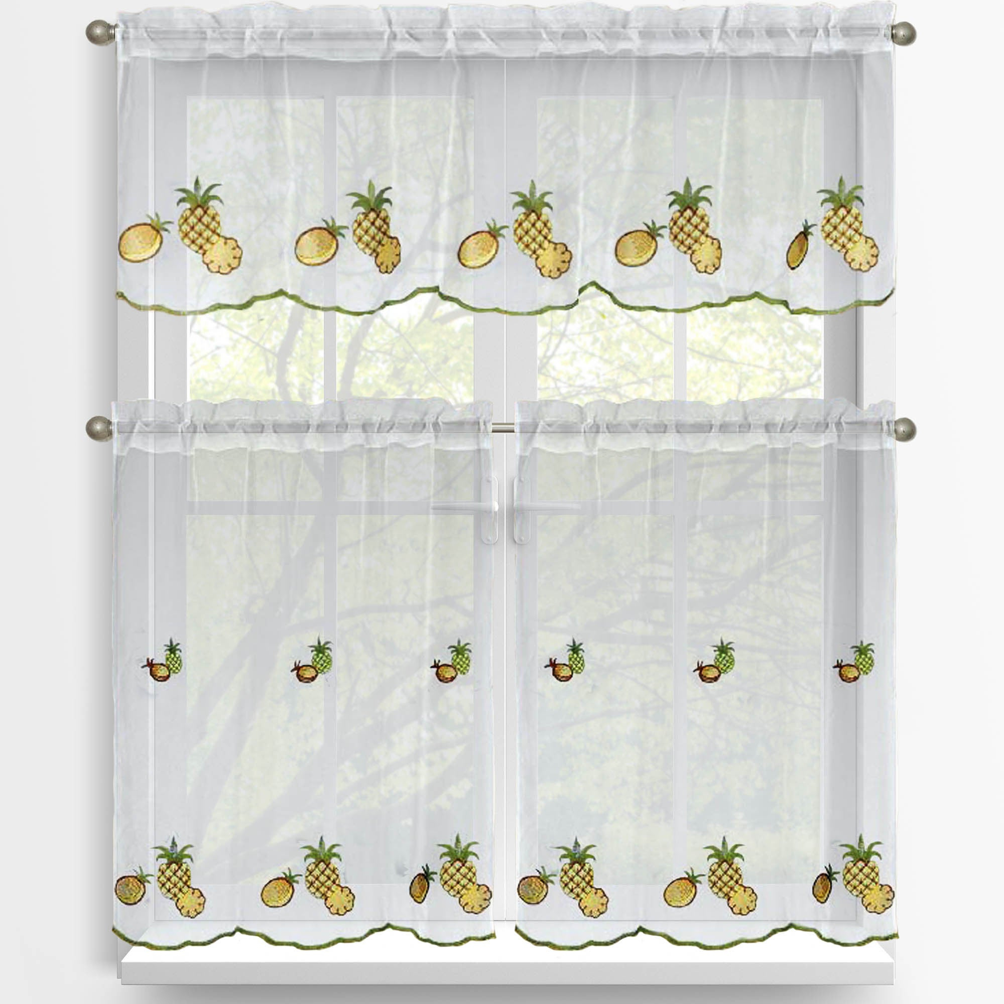 Famous Window Elements Embroidered 3 Piece Kitchen Tier And Valance Set With Regard To Coffee Drinks Embroidered Window Valances And Tiers (View 15 of 20)