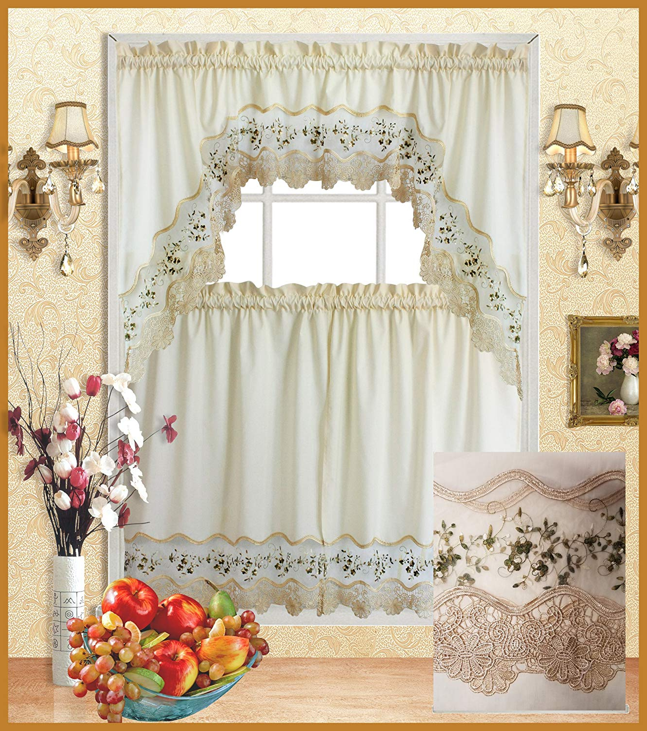Fancy Collection 3pc Beige With Embroidery Floral Kitchen/cafe Curtain Tier And Valance Set 001092 (blue/beige) Within Popular Cotton Blend Ivy Floral Tier Curtain And Swag Sets (View 12 of 20)