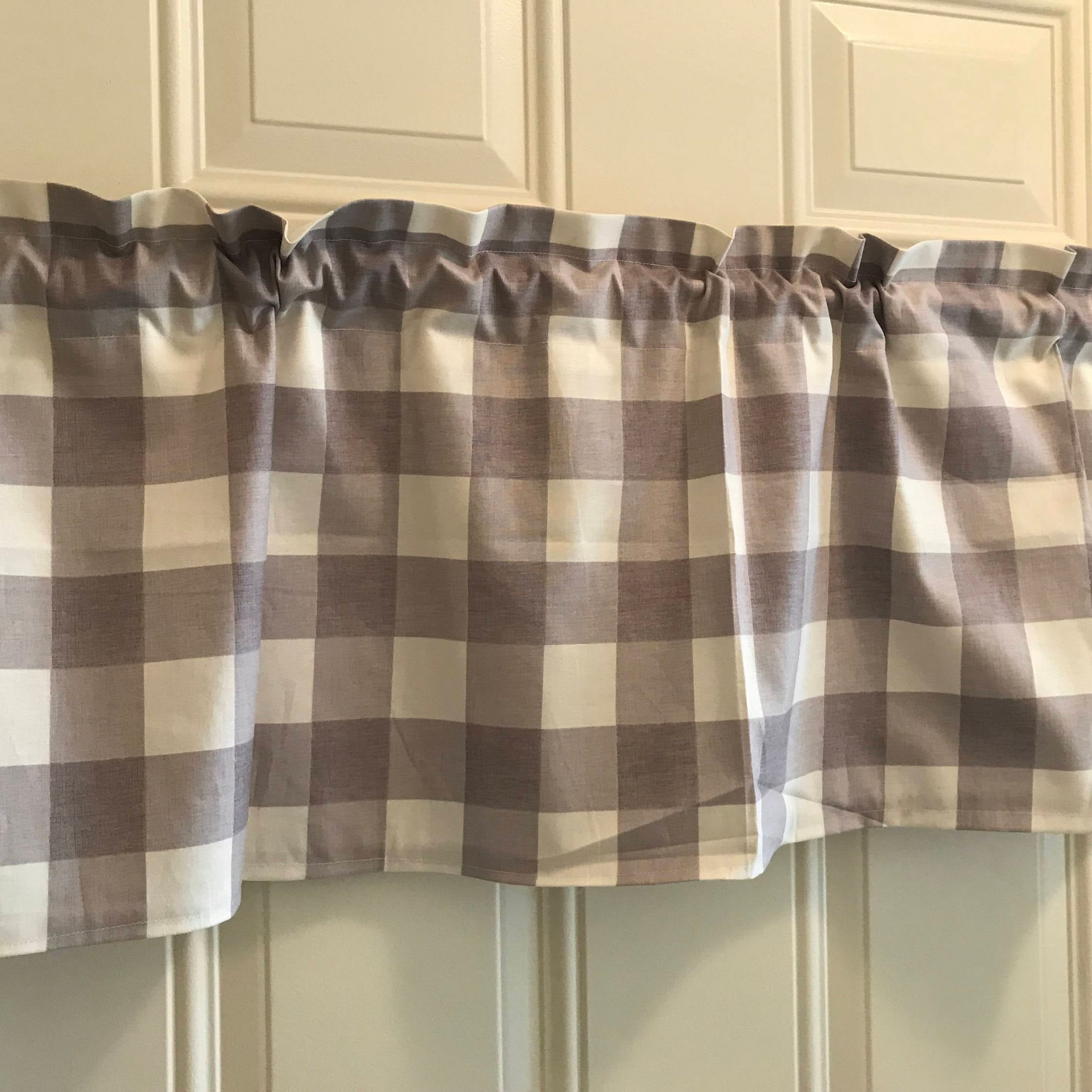 Farmhouse Gray And White Gingham Buffalo Check Curtain Valance With Most Recent Barnyard Buffalo Check Rooster Window Valances (View 16 of 20)