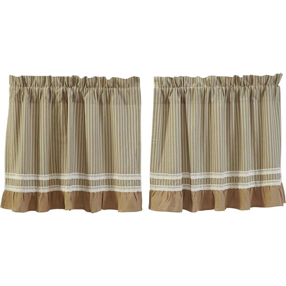 Farmhouse Kitchen Curtains Vhc Kendra Stripe Tier Pair Rod Pocket Cotton Striped Lace Cotton Burlap With Regard To Famous Rod Pocket Cotton Striped Lace Cotton Burlap Kitchen Curtains (View 5 of 20)